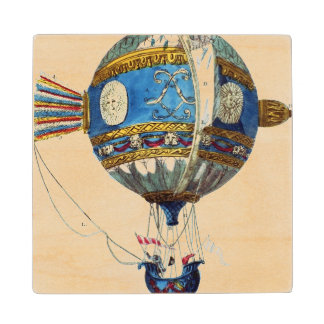 Design for a hot-air balloon with a diameter of 12 maple wood coaster