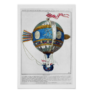 Design for a hot-air balloon with a diameter of 12 poster