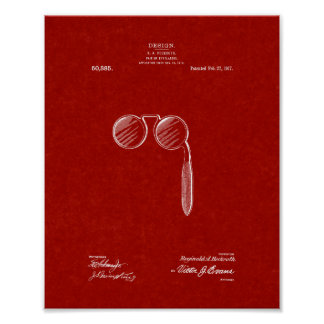 Design For A Pair Of Eyeglasses Patent - Burgundy Poster