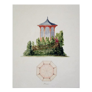 Design for a pavilion in simplified oriental style poster