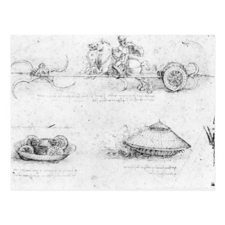 Design for a scythed chariot and armoured car postcard