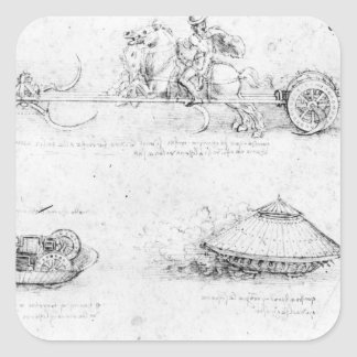 Design for a scythed chariot and armoured car square sticker