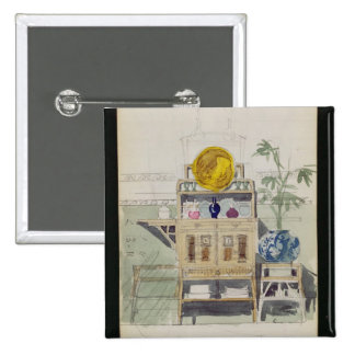 Design for a Sideboard, c.1860s-70s (w/c & pencil 2 Inch Square Button