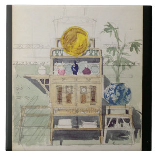Design for a Sideboard, c.1860s-70s (w/c & pencil Large Square Tile