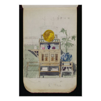 Design for a Sideboard, c.1860s-70s (w/c & pencil Poster