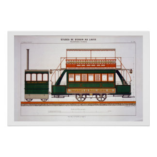 Design for a Steam Tram, plate 126 from 'The Indus Posters