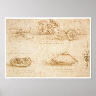 Design for an Armored car, Leonardo da Vinci Poster
