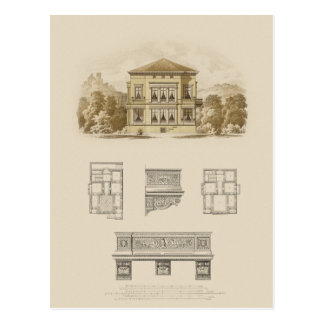 Design for an Estate with Interior Plans Postcard