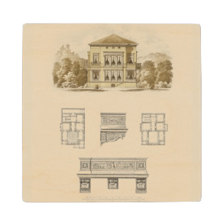 Design for an Estate with Interior Plans Wood Coaster
