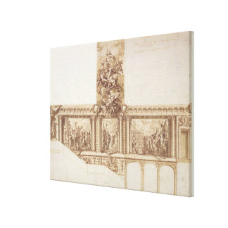 Design for Ceiling Walls and Staircase (pen, brown Canvas Print