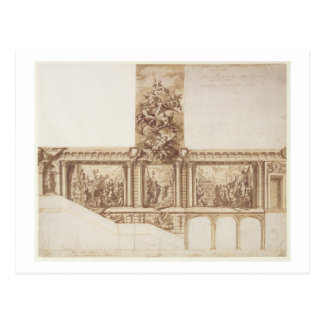 Design for Ceiling Walls and Staircase (pen, brown Postcard
