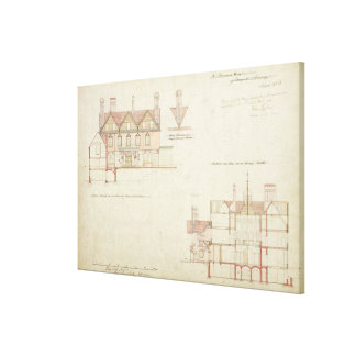 Design for Joldwyns, Surrey, 1872 (pen & ink and w Canvas Print