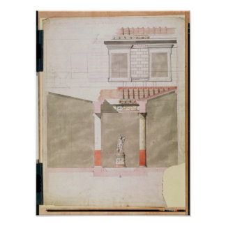 Design for the atrium of the Pompeiian palace Poster