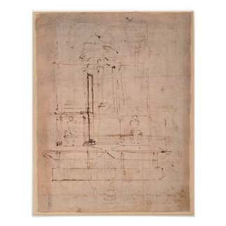 Design for the tomb of Pope Julius II Poster