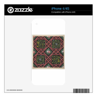Design for wallpaper featuring flowers and lattice decal for the iPhone 4