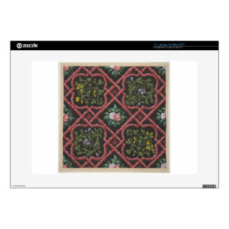 """Design for wallpaper featuring flowers and lattice skin for 15"""" laptop"""