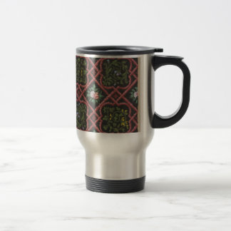 Design for wallpaper featuring flowers and lattice travel mug