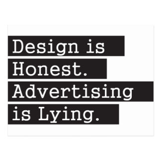 Design is Honest - Black Postcard