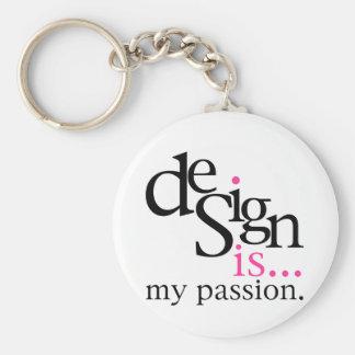 Design is... (pink) basic round button keychain