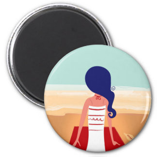 Design magnet with Beach girl
