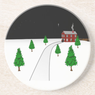 Design of a Winter Christmas Snow Scene Drink Coasters