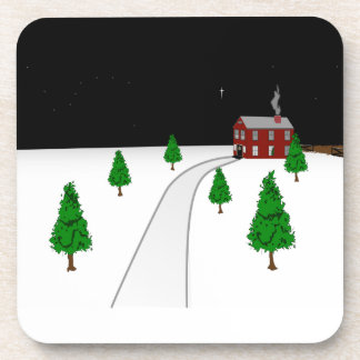 Design of a Winter Christmas Snow Scene Coasters