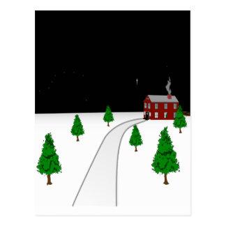 Design of a Winter Christmas Snow Scene Postcard