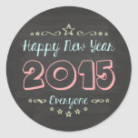Design of congratulation of New Year Classic Round Sticker