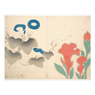 Design of Morning–glory and Other Flowers Postcard