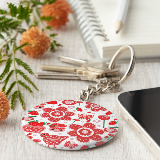 design of strawberries and cakes keychain