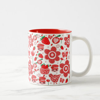design of strawberries and cakes Two-Tone coffee mug