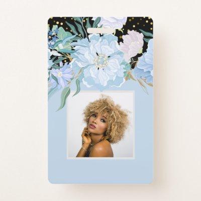 Design Own Trending Girly Stationery Blue Flowers Badge