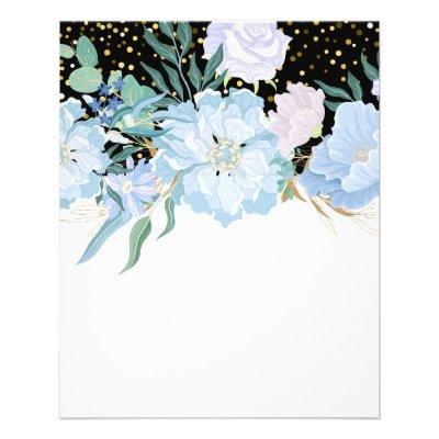 Design Own Trending Girly Stationery Blue Flowers Flyer