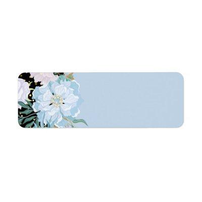 Design Own Trending Girly Stationery Blue Flowers Label