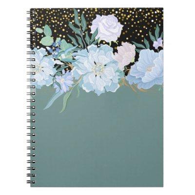 Design Own Trending Girly Stationery Blue Flowers Notebook
