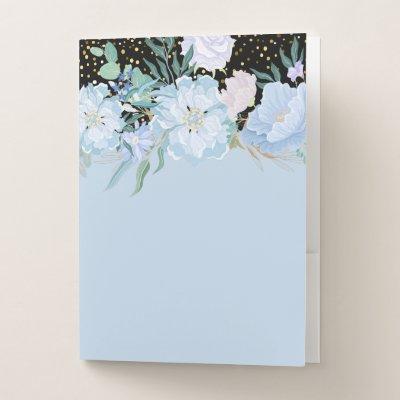 Design Own Trending Girly Stationery Blue Flowers Pocket Folder
