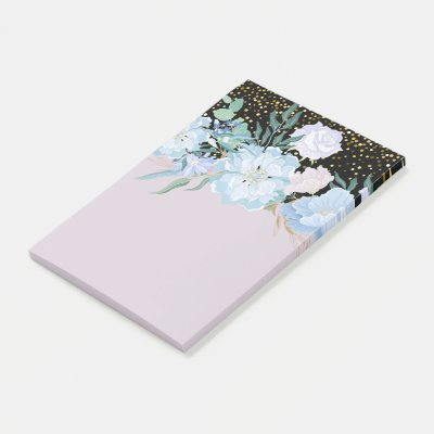 Design Own Trending Girly Stationery Blue Flowers Post-it Notes