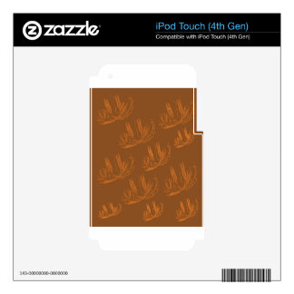 Design palms gold on choco decal for iPod touch 4G