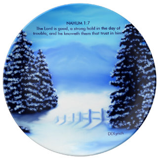 Design Plate with mountain scene/bible verse