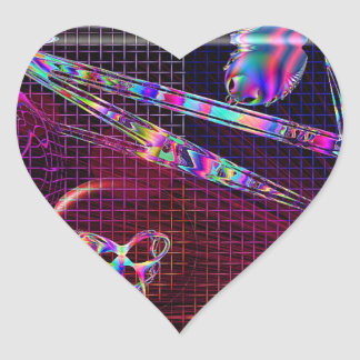 Design Reef Art Glass Grid Heart Sticker