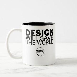 Design Save World Two-Tone Coffee Mug