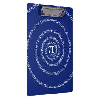 Design Spiral for Pi on Navy Blue Clipboard