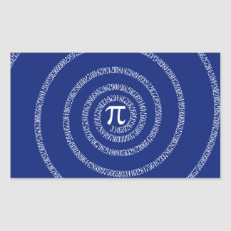 Design Spiral for Pi on Navy Blue Rectangular Sticker