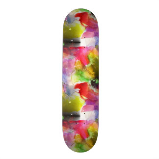 Design texture red, yellow watercolor skateboard deck