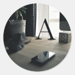 Design Themed, Modern A Letter Interior Collection Classic Round Sticker