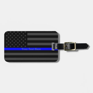 Design Thin Blue Line Personalized Black US Flag Luggage Tag