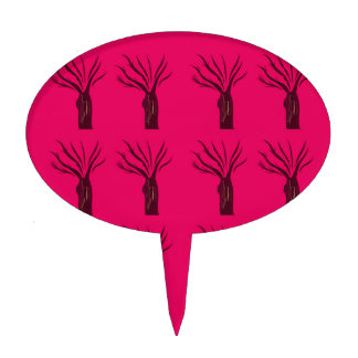 Design trees on pink cake topper