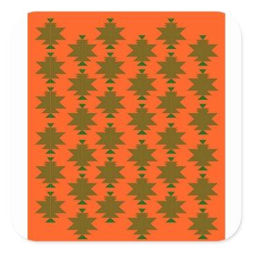 Aztec Themed Design wild aztecs eco square sticker