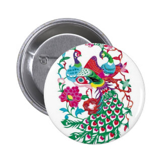 Design with Chinese element-peacock paper-cut Button