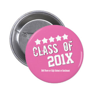 Design Your Graduation PINK and WHITE Stars V01 2 Inch Round Button